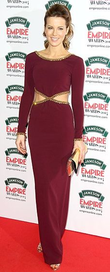 Kate Beckinsale shows off her small waist in a Jenny Packham gown with cut-outs at the Jameson Empire Awards