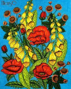 Wild flowers #flowers #wildflowers #bloemen #wildebloemen #blomstermandala #mariatrolle #maria_trolle #kleurenvoorvolwassenen #coloringbook #coloringforadults #coloriagepouradultes #kleuren #coloriage #arttherapy #kleurplatenspam #coloring #fabercastellpolychromos #fabercastell #prismacolor #ellens