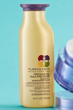 To prevent haircolor from fading, try Pureology Precious Oil Shamp'Oil. The sulfate-free formula cleanses hair without stripping color, and uses sunflower, coconut, olive and jojoba seed oils to repair damage.