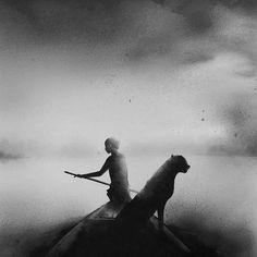 Des enfants et des animaux dans des aquarelles en noir et blanc