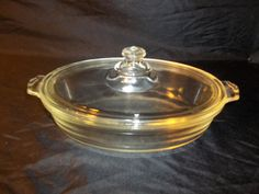 Vintage Pyrex Clear Glass Lidded Casserole Dish