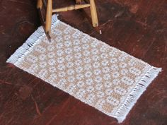 Beige Miniature Dollhouse Rug Handwoven Mat by aclhandweaver, $38.00