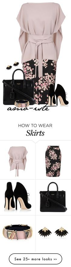 """""""Pencil Skirt"""" by amo-iste on Polyvore featuring Jonathan Saunders, TIBI, Gianvito Rossi, Yves Saint Laurent, Alexis Bittar and River Island"""