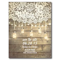 Rustic Country Mason Jars Lights Lace Wood Wedding Invitation Easily customize these mason jar wedding invitations. Mason Jar Wedding Invitations, Country Wedding Invitations, Engagement Party Invitations, Rustic Invitations, Bridal Shower Invitations, Invitation Ideas, Dinner Invitations, Invitation Cards, Rustic Save The Dates