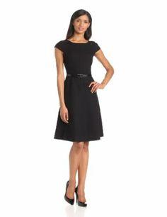 Anne Klein Women's Cap-Sleeve Scoopneck Solid Dress #anneklein #women #sleeve #fashion