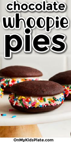 This Whoopie Pie Recipe makes a fudgy sandwich cookie that are delicious. Two rounds of chocolate cake held together with a creamy vanilla cream cheese frosting and lots of sprinkles. Fun for a birthday, and kids can make this recipe too. Delicious! #whoopiepies #bestdesserts #chocolaterecipes