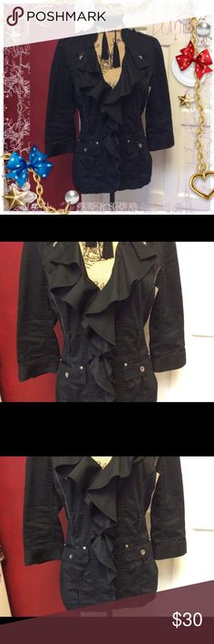 🦉pretty WHBM lightweight jacket 🦉 Pretty ruffle front jacket - lightweight for spring - has belt hoops but I don't have the belt- 4 clasp closure but as shown in photo- 1 clasp has fallen off but I will send it with- I'm not overly talented in any way with a needle and thread White House Black Market Jackets & Coats