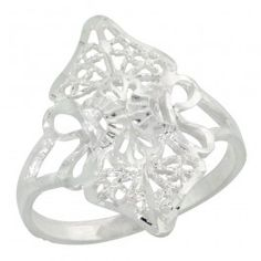 Sterling Silver Filigree Diamond-shaped Floral Ring, 3/4 inch.