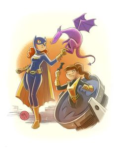 """Batgirl and Who?  One of the X Men, the Phoenix?  Nope its Kitty  Kitty Anne Pryde possesses a """"phasing"""" ability that allows her and objects or people with which she is in contact to become intangible.  Yea Wikipedia."""
