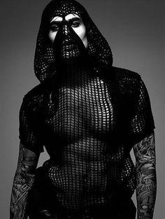 Strangely compelling, Jon Kortajarena is photographed by Xevi Muntane . Fashion Art, High Fashion, Mens Fashion, Fashion Design, Dark Fashion, Rick Owens, John Kortajarena, Post Apocalyptic Fashion, Hommes Sexy
