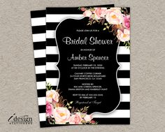 Bridal Shower Invitation | Diy Printable Floral Black And White Stripe Bridal Lunch, Brunch Or Luncheon Invites With Watercolor Flowers by iDesignStationery on Etsy