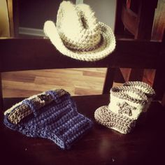 Crochet cowboy hat/boots and denim diaper cover by PSiLoveHaTs, $50.00