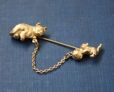 #vintage kitty cat brooch by Thrush on Etsy, $29.00