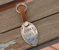 GIDDY UP hand stamped Vintage Spoon silver plate With LEATHER and keyring
