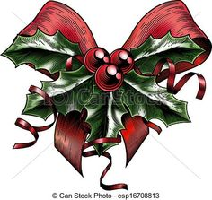 Vector Clip Art of Vintage Woodcut Christmas Holly Bow - A vintage ...