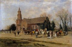 Alfred Wordsworth Thompson - Old Bruton Church, Williamsburg, Virginia, in the Time of Lord Dunmore [1893]