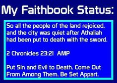 So all the people of the land #rejoiced, and the #city was #quiet after Athaliah had been put to #death with the #sword. 2 Chronicles 23:21 AMP