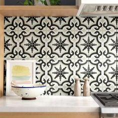 EliteTile Junius x Porcelain Field Tile Decorative Tile Backsplash, White Tile Backsplash, Wall Tiles, Stone Backsplash, Mosaic Tiles, Spanish Tile Kitchen, Kitchen Mosaic, Black And White Backsplash, Wall Decor Design