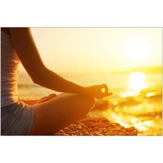 Hand of Woman Meditating in A Yoga Pose on Beach Photography by Eazl, Size: 18 x 12, Brown