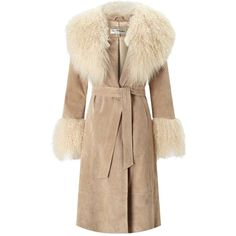 Miss Selfridge Tan Suede Mongolian Faux Fur Coat (595 CAD) ❤ liked on Polyvore featuring outerwear, coats, tan, miss selfridge, miss selfridge coats, beige coat, suede leather coat and suede coat