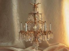 dollhouse doll house miniature CRYSTAL CHANDELIER LAMP  #PatresNiceatees I think this is hand made and put together with jewelry findings. Very pretty. very talented to make such a beautiful thing! On Ebay!