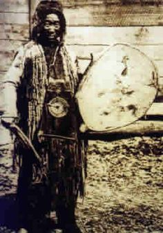 The shamans of tribes, such as Nanai and Udeghe, didn't often wear real shaman costumes during their ceremonies, but they would use the characteristic big, flat drums.    The shaman would beat the drum, in a monotonous rhythm, and sing long songs, to invite the spirits.    In some tribes, the shamans would improvise words and melodies, in others they would mainly sing old  familiar songs.    Invited by the songs, the spirits would gather around the shaman.