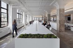 Not this wide, but imagine this for hot desks. Lots of collaboration and clean when not in use.  Horizon Media offices by a+i architecture New York.