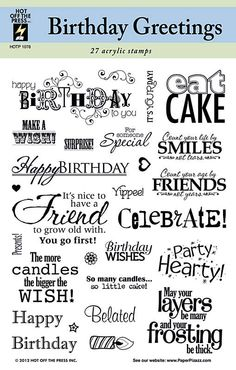 Hot Off The Press Birthday Greetings stamp set