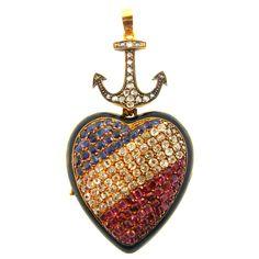 1STDIBS.COM Jewelry & Watches - French Enamel Multi Gem Locket - DK Bressler & Co. Inc.