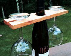 Wine Bottle & Glass Holder by WineyGuys on Etsy