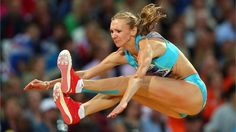 Olga Rypakova of Kazakhstan competes in the women's Triple Jump final on Day 9 at London 2012.  Rypakova took the lead in the third round and was never headed, with Colombia's Caterine Ibarguen claiming silver by just one centimetre with a leap of 14.80m in the final round.