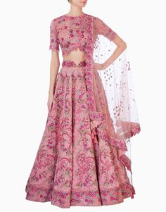 Fully Hand Embroidered Thread Work Lehenga Set. Hand Thread Embroidery With Dabka Work And Swarovski Crystals. Fabric: Raw Silk/Tulle Dupatta