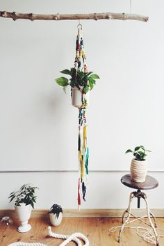 This one of a kind plant hanger is made from the beautiful woolen off cuts from local sweetheart Pendleton Woolen Mills. 100% wool with cotton rope detail.approx: 62 inches longPlant and pot not included.