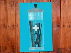Bathroom or Barber shop decor. Hand screenprinted Barbercide jar poster.
