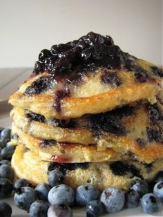 blueberry cornmeal pancakes for one