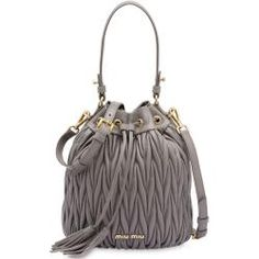 Shop online Miu Miu matelassé drawstring bucket bag as well as new season, new arrivals daily. Phenomenal luxury selection, get it now with quick Global Shipping or Click & Collect orders. Miu Miu Glasses, Miu Miu Matelasse, Miu Miu Handbags, Cuir Nappa, Metallic Handbags, Knitted Booties, Miu Miu Shoes, Plaque, Gray