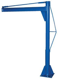 """Multi-Station Transportable Jib Cranes are designed for use in multiple locations, includes jib crane and one base socket. Extra base sockets may be purchased for use in other locations. Friction brake design allows positive locking and controlled rotation of heavy loads. 360° continuous rotation of heavy loads. Handle most applications up to 1,000 lbs. and up to 120"""" radius reach. Standard 4"""" high I-beam on all units with 2.663"""" flange width. Rugged welded steel construction."""