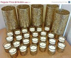 ON SALE Wedding Centerpiece Set, Gold Wedding Centerpiece, Silver Wedding Centerpiece, Vase and Candle Set, Wedding Vases, Wedding Candles,