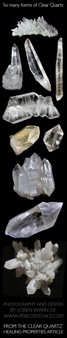 CLEAR QUARTZ Crystals - such a wide variety to how Clear Quartz grows - Pixie Crystals
