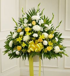 1800Flowers - Heartfelt Sympathies Yellow Standing Basket - Medium - http://yourflowers.us/1800flowers-heartfelt-sympathies-yellow-standing-basket-medium-2/