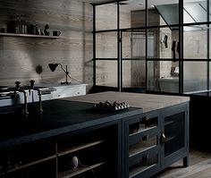 Couleurs salon cuisine bois/gris/noir/blanc Baies vitrées métal noir effet carreaux