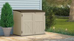 of shed landscaping Found it at Wayfair - Utility ft. W x ft. D Plastic Horizontal Garbage Shed Rubbermaid Storage Shed, Plastic Storage Sheds, Storage Shed Organization, Outdoor Storage Sheds, Storage Shed Plans, Plastic Sheds, Small Storage, Storage Ideas, Suncast Sheds