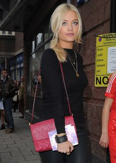 Check out all the great handbags that celebs were carrying at London Fashion Week Spring 2014 events! European Style, European Fashion, Laura Whitmore, Kaley Cuoco, Tv Presenters, Colourful Outfits, Celebs, Celebrities, Designer Bags