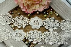 Guipure lace trim with snowflower pattern, venise lace trim, wedding lace, 2 inches wide, GL-37
