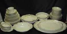 44 Haviland Limoges Marseille White Gold China Set Lot Plate Bowl Serving 422 | eBay