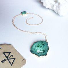 Green Agate Druzy Slice Pendant Necklace by ArcherandBull on Etsy
