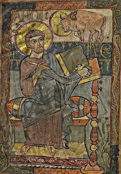 Saint Luke / San Lucas // Evangeliarium (Evangéliaire dit de Charlemagne ou de Godescalc) Fol. 2r // Date d'édition: 781-783 // Bibliothèque nationale de France // #Gospel