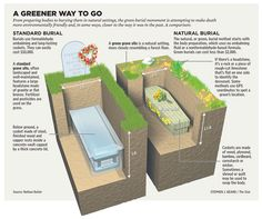 Explanatory diagram highlighting the differences between green burial and a traditional burial.