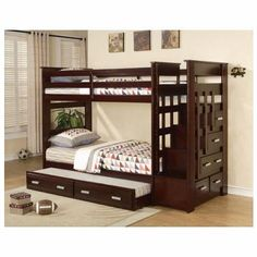 "The Ridley Bunk Bed is stylish and functional. Not only does the staircase provide easy access to the top bunk, it also features storage drawers for convenience. The silver hardware looks great against the dark espresso finish. Trundle is also included. Twin over twin bunk bed. Dimensions: 98"" x 43"" 68""H"