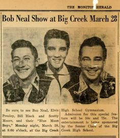 Sam Phillips named Elvis, Scotty and Bill the Blue Moon Boys in 1954. They performed at the Big Creek high school gym in Big Creek,Mississippi on March 28th,1955.